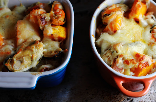 Baked Rice with Pumpkin, Chicken, Bacon, Mussels & Cheese
