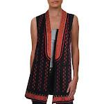 Kobi Halperin Womens Lili Linen Open Front Suit Vest Black