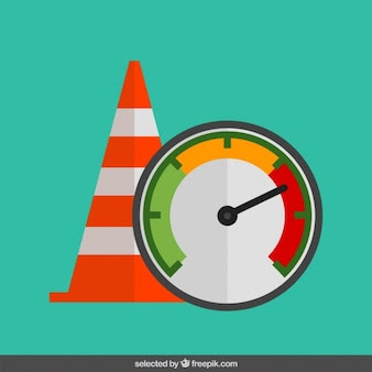 Cone de trânsito e velocímetro em design plano