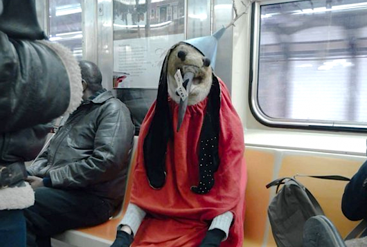 The Hieronymus Bosch Demon Bird Was Spotted Riding the New York City Subway the Other Day…