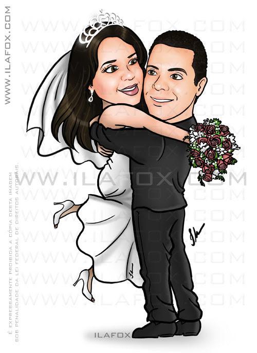 Caricatura casal noivos, abraçados, noivinhos Marcela e Helton, caricatura para casamento, by Ila Fox