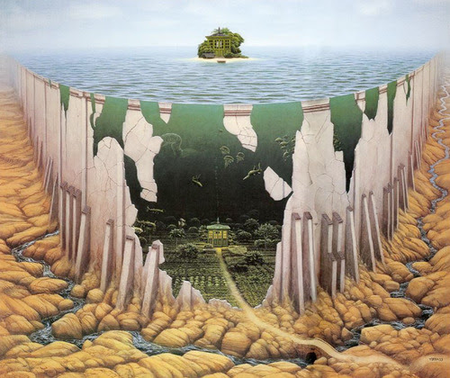 pixography:  Jacek Yerka  Some days my mind feels like this picture. I look at something simple like a small island, and my mind conjures up a complicated story. Instead of a simple island, I end up with a road leading from a brightly lit house surrounded by fancy gardens. This road then flows into a river on a bed of rocks. It can be fun to have an over-active imagination, especially when I have a place to post my thoughts.