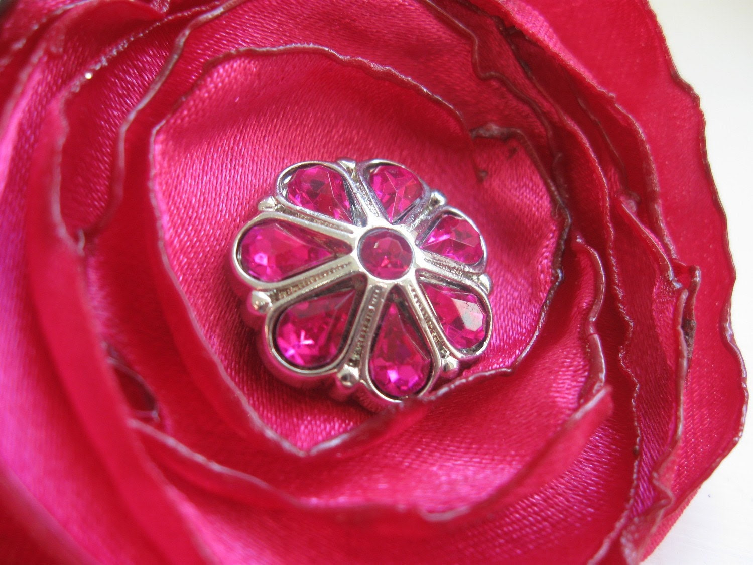 Cerise Rose hair clip and pin