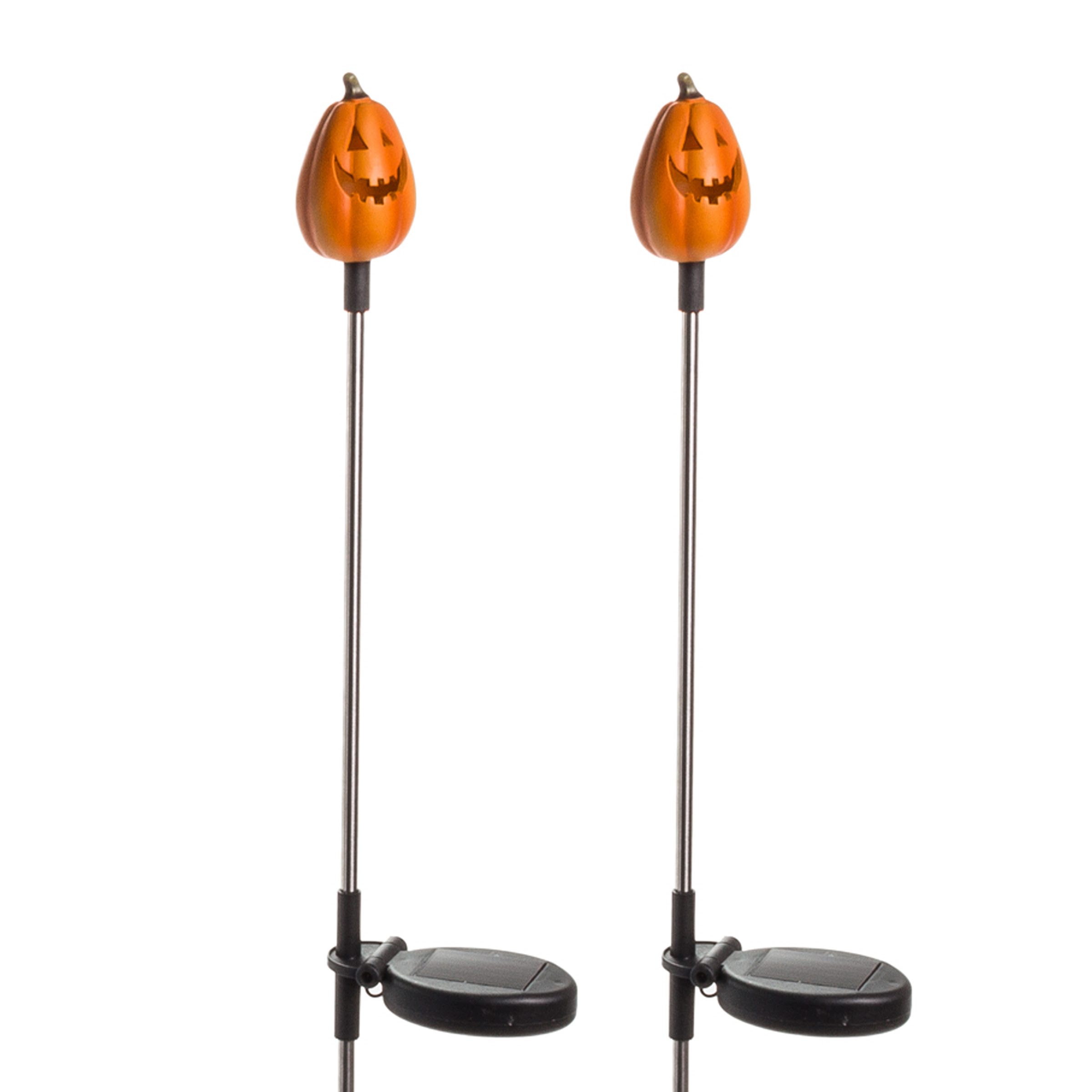 2 Pack Solar Halloween Tall Pumpkin Outdoor Garden JackOLantern Stake Light  eBay