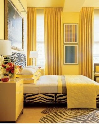 jamie drake yellow bedroom--zebra rug, curtains