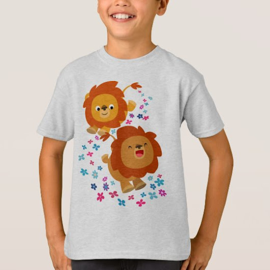 Cute Cartoon Lions In The Garden Children T-Shirt
