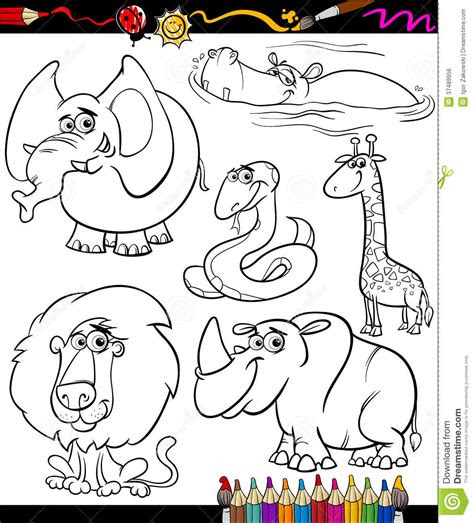 cartoon animals set  coloring book stock vector