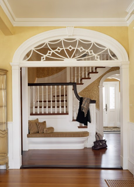 Beautiful framed entry doorway and a built-