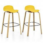 Set of 2 Modern Barstools Pub Chairs with Low Back and Metal Legs-Yellow - Color: Yellow