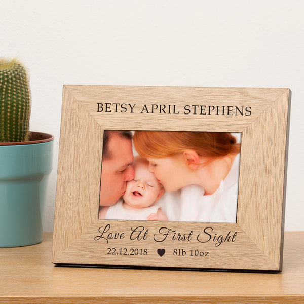 Personalised Love At First Sight Wooden Frame 6x4