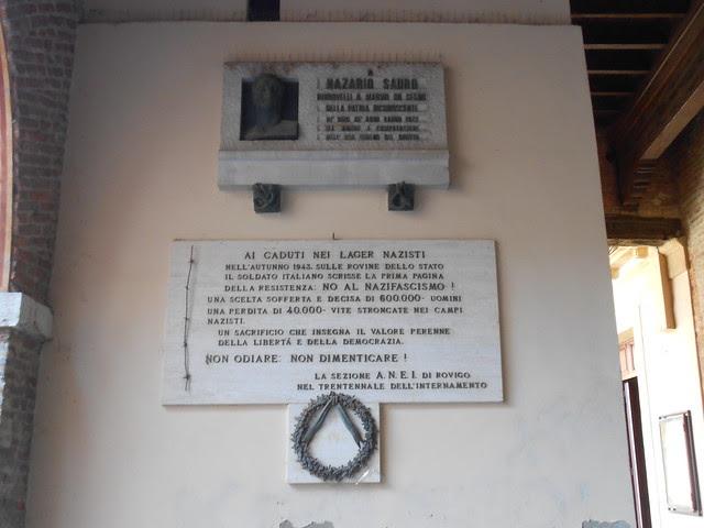 lapide a Nazario Sauro di Virgilio Milani a Rovigo