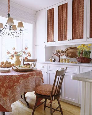 kitchen cabinets with fabric panels