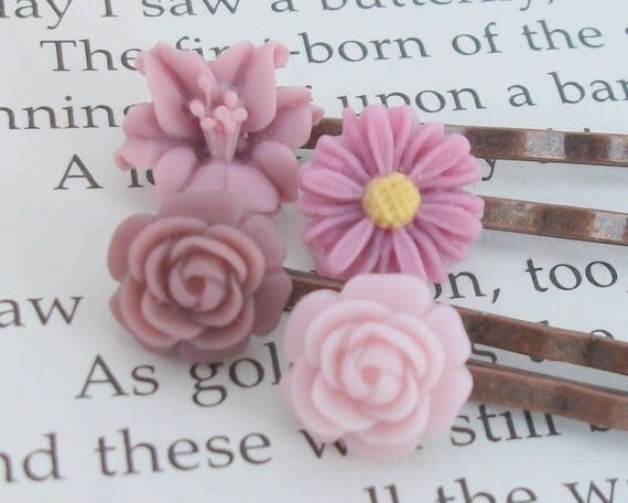 Lilac Hair Pins - FREE SHIPPING