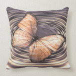 Tangerine Orange Butterfly Ripples Pillows