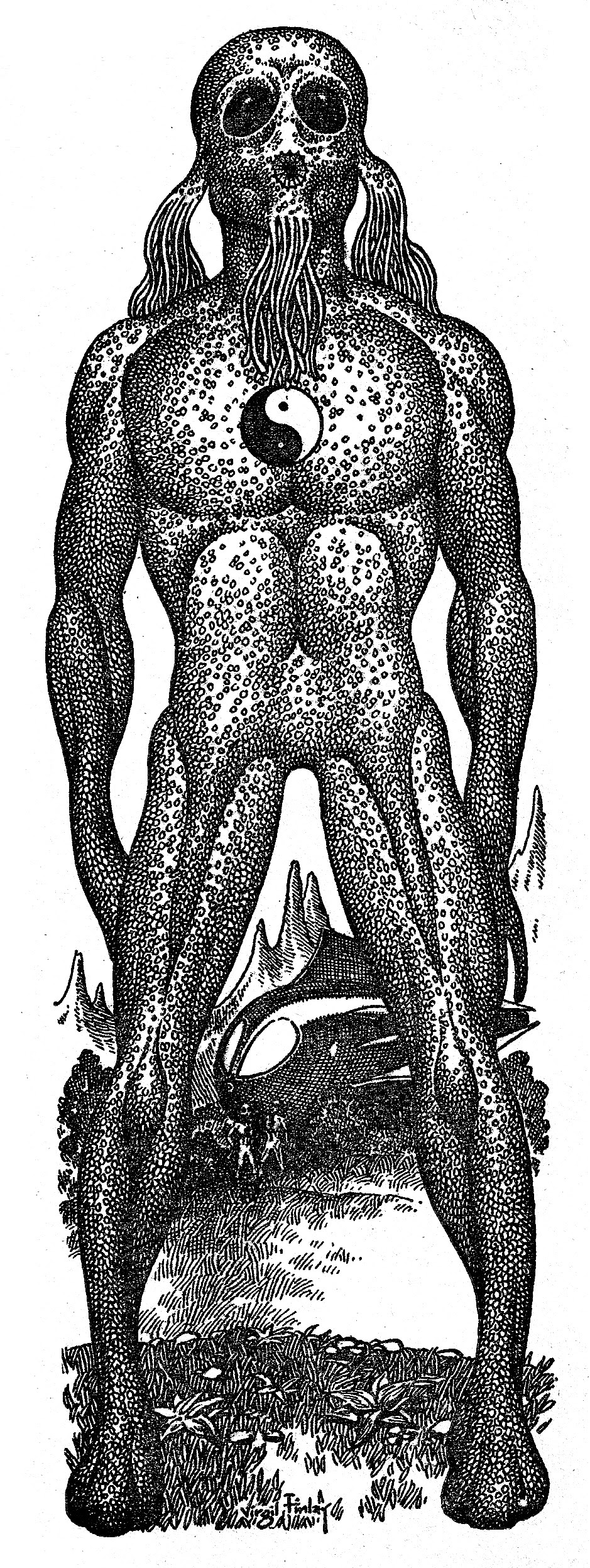 Virgil Finlay - 71, Valley of Creation Alien (1948)