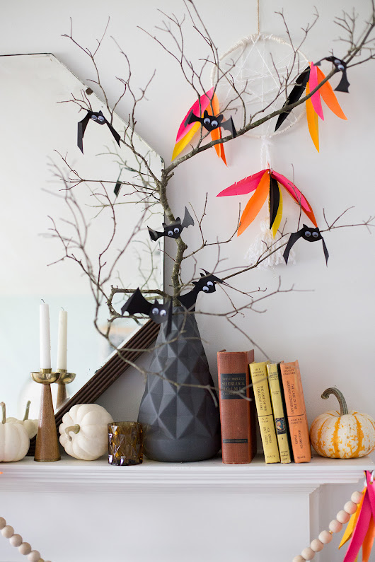 a fall mantel with astrobrights - Lay Baby Lay