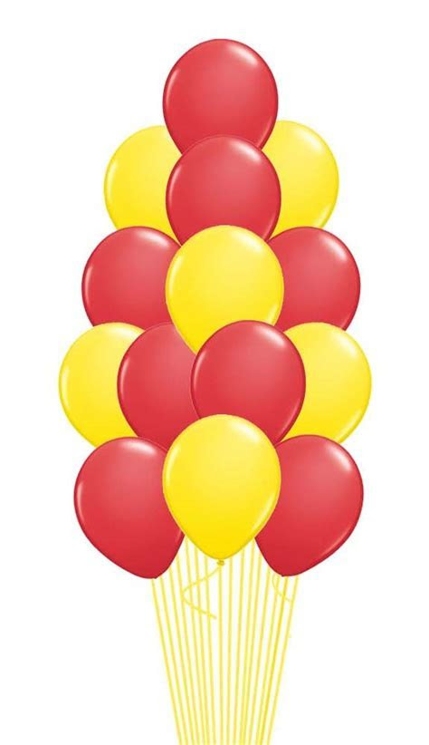 Red & Yellow Balloon Bouquet 15 pcs. with weight, Red