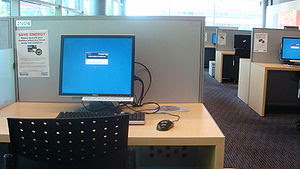 A typical computer station at the Kate Edger I...