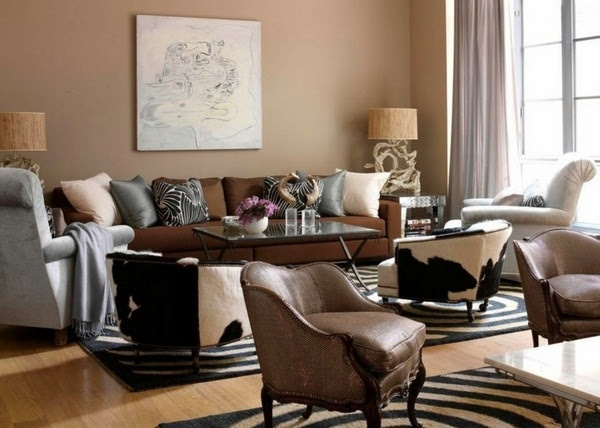 Living room design ideas in brown and beige - 50 fabulous ...