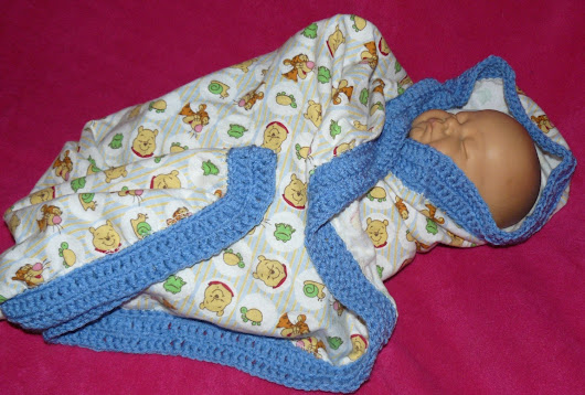 Winnie the Pooh Flannel Receiving Blanket with Blue Crochet Trim on Edges