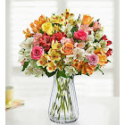 1-800-Flowers Assorted Roses & Peruvian Lilies with Clear Vase