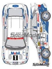 Calcas 1/24 Shunko Models - Ford Escort RS Cosworth Grupo A Mobil1 Nº 5, 7 - Tommi Makinen + Seppo Harjanne, Francois Delecour + Daniel Grataloup - Rally de los 1000 Lagos Finlandia 1994 - para kit de Tamiya image