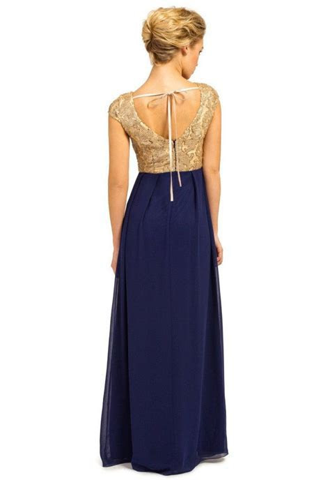 Little Mistress Gold & Navy Chiffon Maxi Dress   Wedding