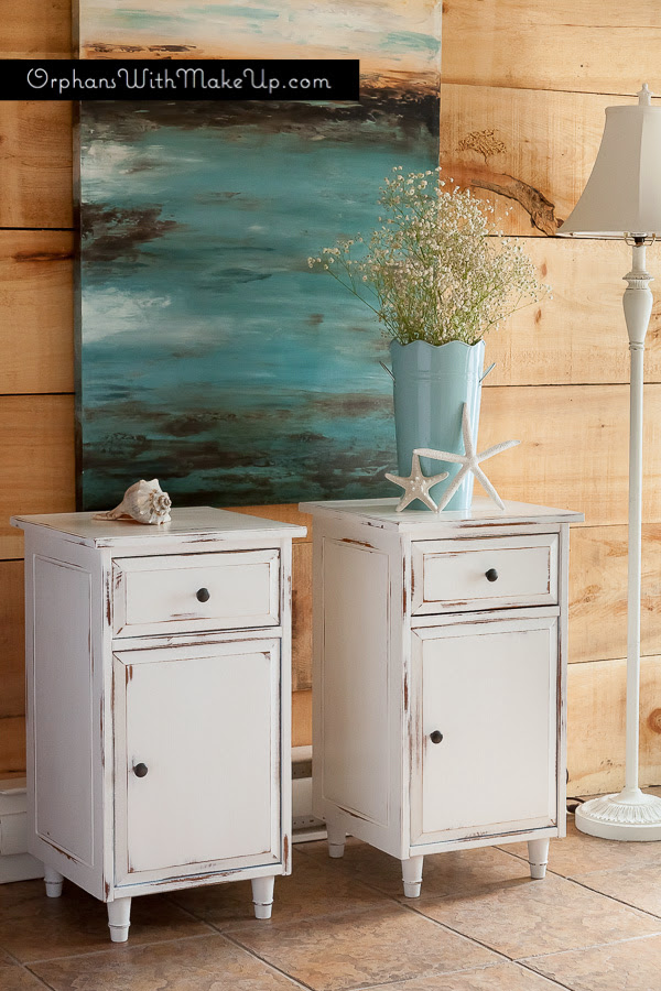 PAINTED IKEA HEMNES END TABLES