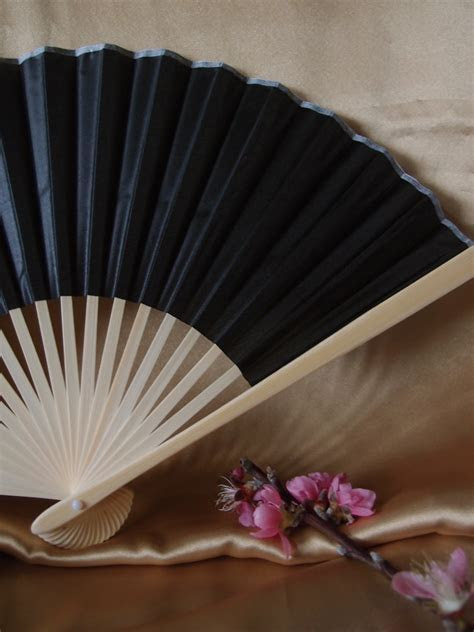 "9"" Black Chinese Folding Silk Hand Fan for Weddings on"