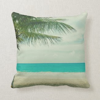 Retro Beach Theme Throw Pillow