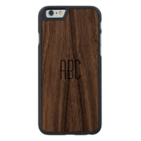 Monogrammed Wood Case Carved® Walnut iPhone 6 Case