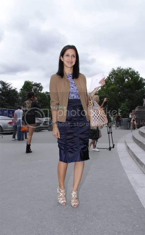 Karla Martinez at Chanel Haute Couture fall winter 2012/13 wearing a Burberry ruffled skirt and Manolo Blahnik shoes