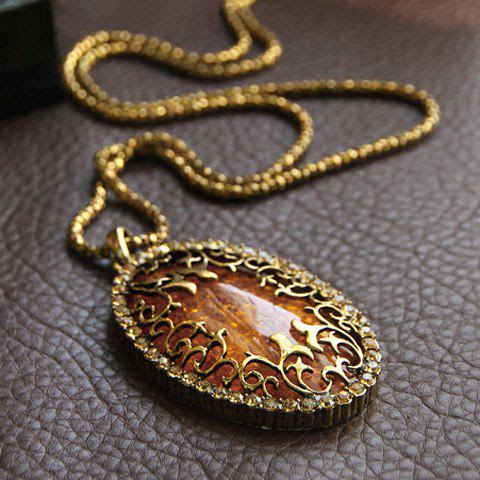Sweet Fashion Style Amber Oval Shape Pendant Design Women's Necklace