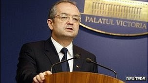 Romania's ex-PM Emil Boc (file pic Jan 2012)