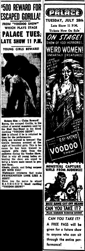 "THE MONSTER MAKER RAY-MOND and his ""VOODOO SHOW"" newspaper advertisement July 1953"