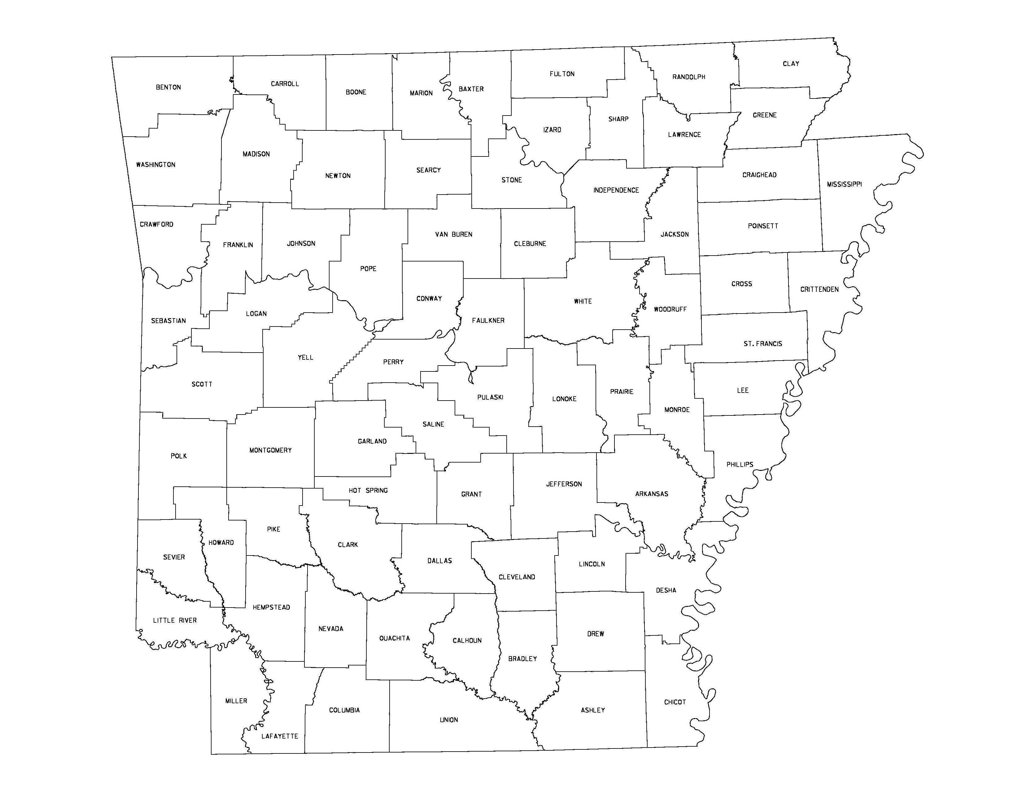 Arkansas Outline Maps And Map Links