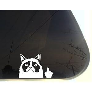 """Grumpy Cat Finger - 5 1/8"""" x 3 3/4"""" funny die cut vinyl window decal (NOT PRINTED)"""