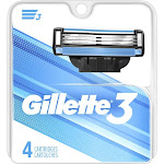 Gillette 3 Men's Razor Blade Refills with Lubrication Strip and Front Pivot 4 Count