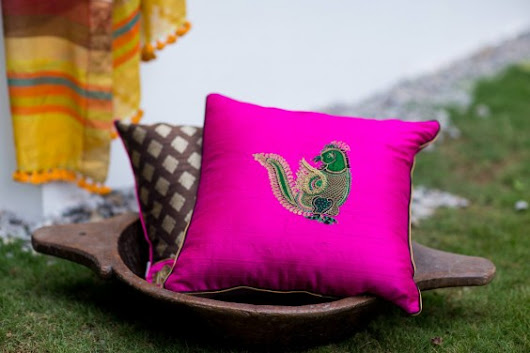 Silk Embroidered Cushions from DruZari by Bhuvi Kilpady