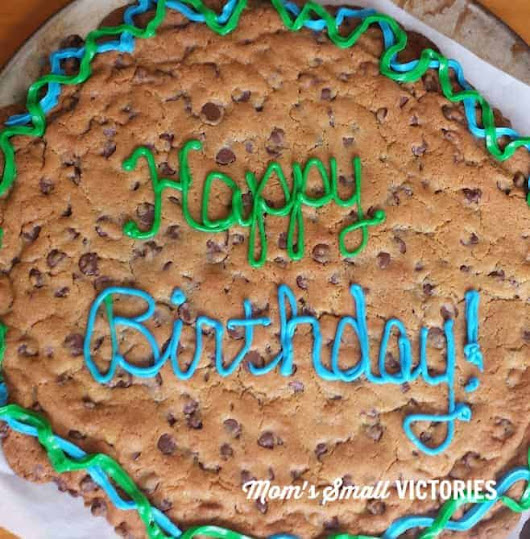 Ridiculously Easy Chocolate Chip Cookie Cake for Holidays and Parties - Mom's Small Victories