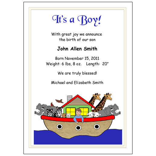 Baby Boy Birth Announcements Noahs Ark Mandys Moon Personalized Gifts