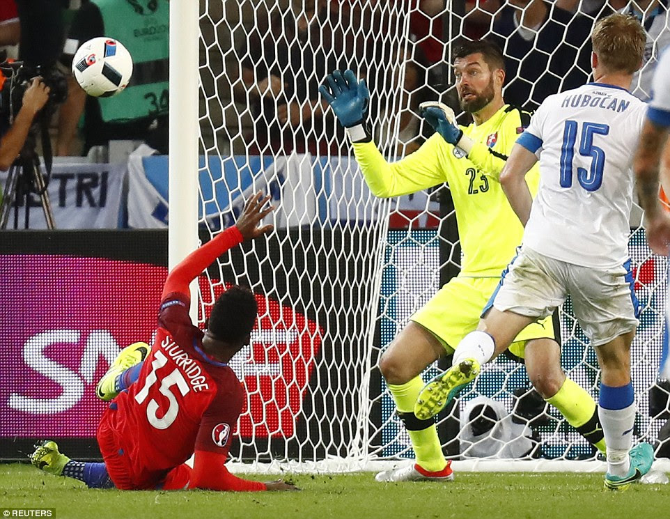Liverpool striker Sturridge could only watch as the ball bounced through to Kozacik as another chance went begging for England