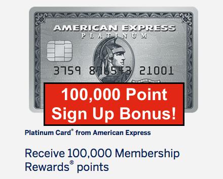 100,000 American Express Platinum Sign Up Bonus Back Again ...