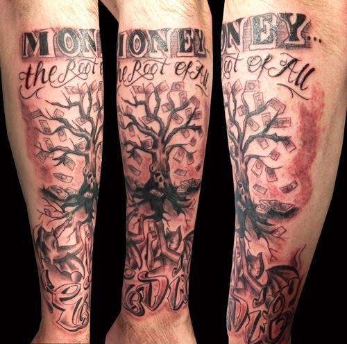 Money Tree Tattoo On Shoulder