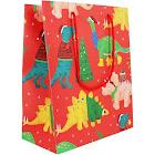 Waste Not Paper - Santasaurus Dinos Holiday Medium Gift Bags - 3 Bags