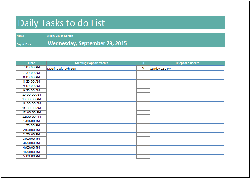 Excel Daily Task to do List Template   Word Document Templates