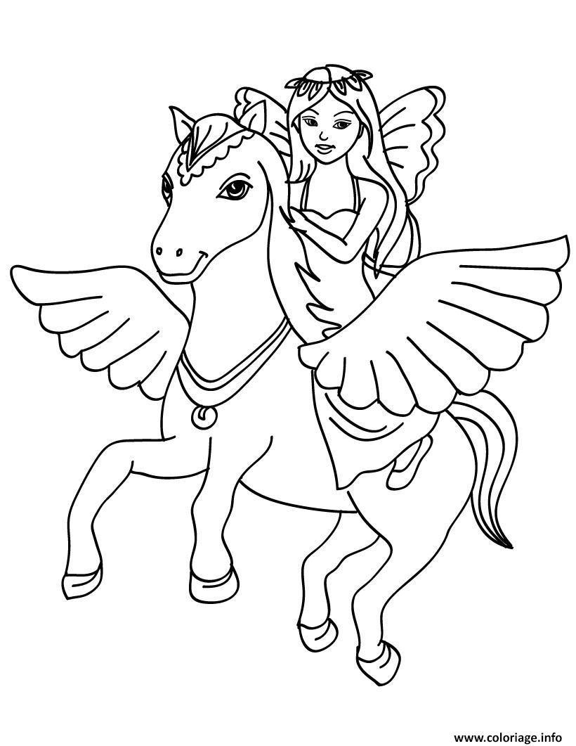 Coloriage La Princesse Et Son Cheval Dessin  Imprimer