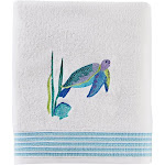 "Saturday Knight Ltd Watercolor Ocean Wave & Sea Turtle Colorful Bath Towel - 27x50"" White"