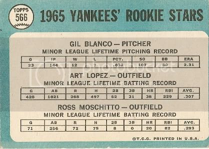#566 Yankees Rookies: Gil Blanco, Art Lopez, and Ross Moschitto (back)