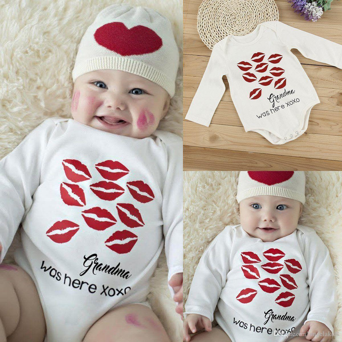 2017 newborn baby bodysuit lip prints cotton romper infant